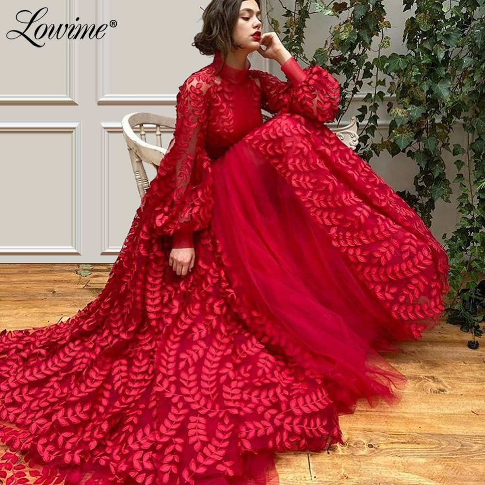 Princess High Neck Arabic Red Party Dress Long Sleeves Formal Women Evening Gowns Middle East Dubai Kaftans Robe De Soiree 2020