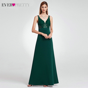 Image 4 - Elegant Dark Green Evening Dresses Long Ever Pretty A Line V Neck Sleevelss Lace Appliques Evening Gowns Abiye Gece Elbisesi