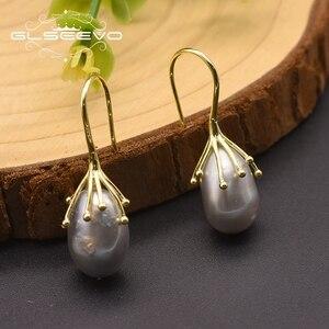 Glseevo prata 925 jóias de água doce cinza pérola brincos para mulher menina noivado aniversário boucles d oreille femmec ge0335d
