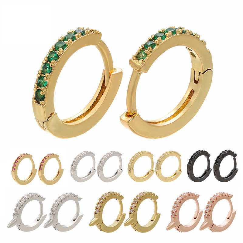 1 Pair Hoop Earrings Small Cubic Zircon Earring Trendy CZ Jewelry Rose Gold Silver Black Color Aretes Rainbow Punk Rivet Spike in Hoop Earrings from Jewelry Accessories