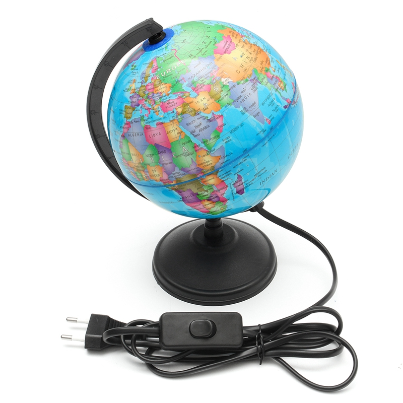 New LED Light World Earth Globe Map EU Plug Geography Educational Toy With Stand Home Office Ideal Miniatures Gift Office Gadget