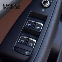 Decoración de coche para Audi, interruptor de cristal de ventana Interior, botones, cubiertas de marco, pegatinas, accesorios de molduras, Para A3, 8V, S3, Q3, A4, B8, A6, C7, Q5