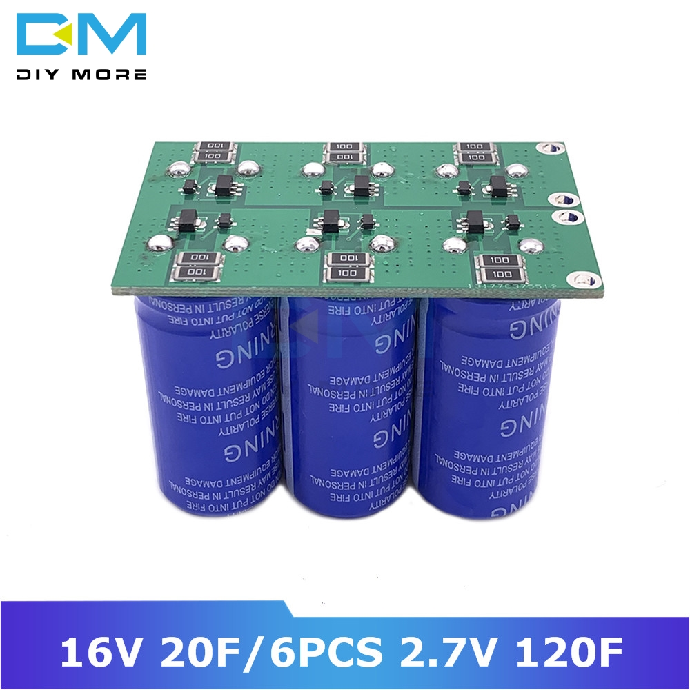Diymore Super Farad Capacitors 6PCS 2.7V 120F Super Capacitor With Protection Board Double Rows 16V 20F Ultracapacitor For Car
