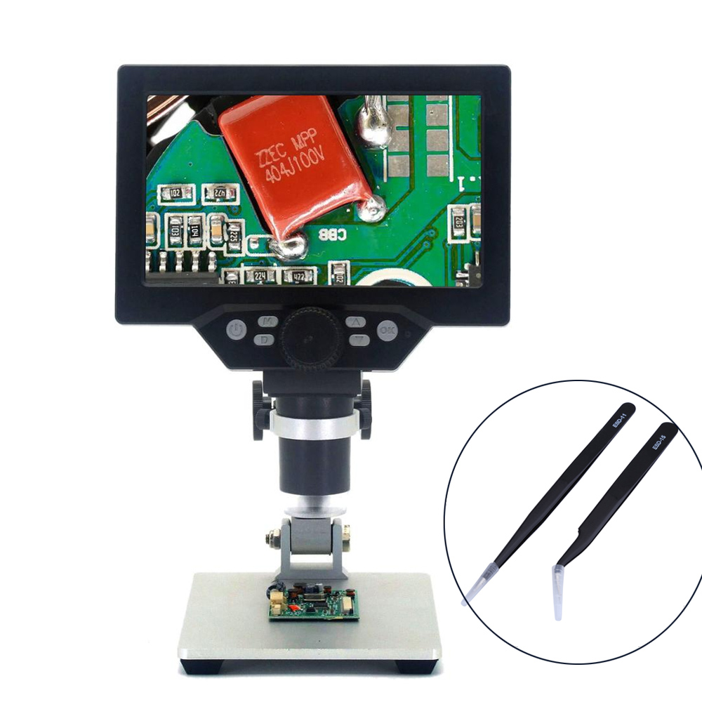 G1200 12MP 1200X Digital Microscope 7 Inch screen for Soldering Electronic Continuous Amplification Magnifier with Free tweezers