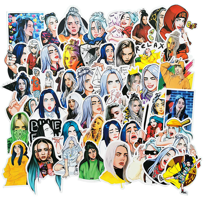 50PCS Billie Eilish Stickers Lovely Cartoon Skateboard Fridge Phone Guitar Snowboard Motorcycle Luggage PVC Waterproof Stickers