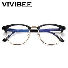 VIVIBEE Classic Semi Rimless Anti Blue Light Glasses Men Square Anti Ray Eyeglasses Frames Computer Women Gaming Goggles