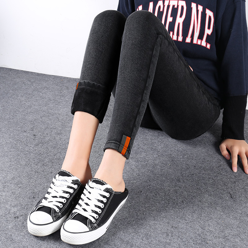 Outer Wear Jeans Autumn And Winter New Style Korean-style 2019 Women's Brushed And Thick Washing Large Size Fat Mm Capri Skinny