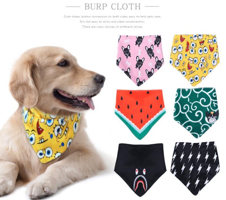 Pet Neckerchief Cat Dog Accessories Scarf  Waterproof Printing Bandana Bibs Scarf Collar Pet Saliva Towel Cotton Triangle Towel