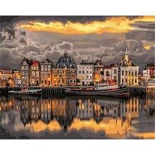 Diy картина по номерам ночной город Раскраска пейзаж настенная