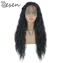 NoEnName_ Null Long Curly Hair High Temperature Hair wig African American Hairstyle Synthetic Hair Wigs For Woman Black Natural cheap NoEnName_Null High Temperature Fiber Water Wave 230g 100g(+ -5g) piece 1 Piece Only Straight