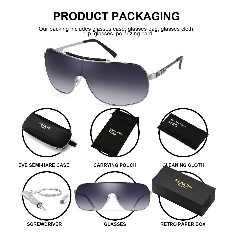 Image 2 - FENCHI NEW Sunglasses  Men Women Driving Blue Oversized Female Sun Glasses Windbreak Goggles Zonnebril Dames Oculos FemininoMens Sunglasses   -