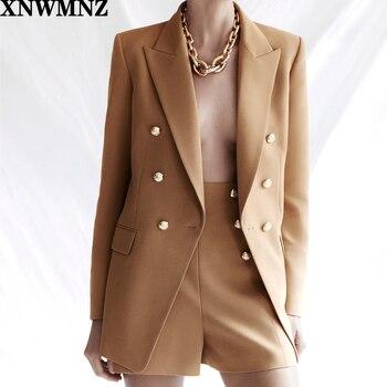 Za women buttoned blazer Long sleeve blazer lapel collar defined shoulders flap pockets vent double-breasted metal button camel