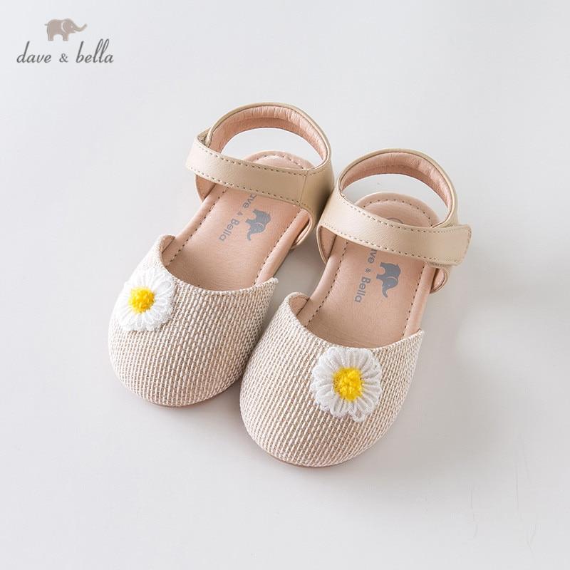DB12853 Dave Bella Summer Baby Girls Fashion Sandals New Born Infant Shoes Sandals Floral Appliques Shoes