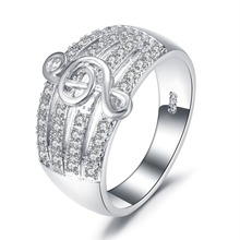 925 Silver Literary Fashion Notes Diamond Wide Face Creative Women's Ring Engagement Wedding Gift Jewelry