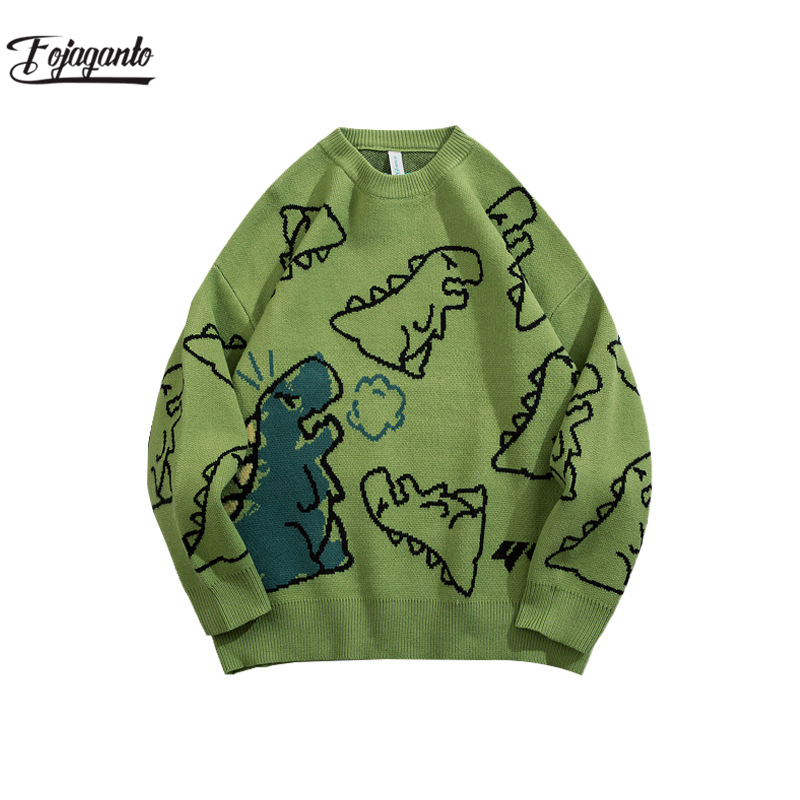 FOJAGANTO Sweater Men Fashion Knitted Hip Hop Streetwear Dinosaur Cartoon Pullover O-Neck Oversize Casual Couple Male Sweaters