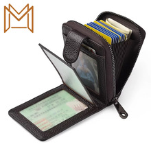 Head Layer Cowhide Man Driver's License Card Package Genuine Leather Zipper Women's Wallet More Function Certificates Card