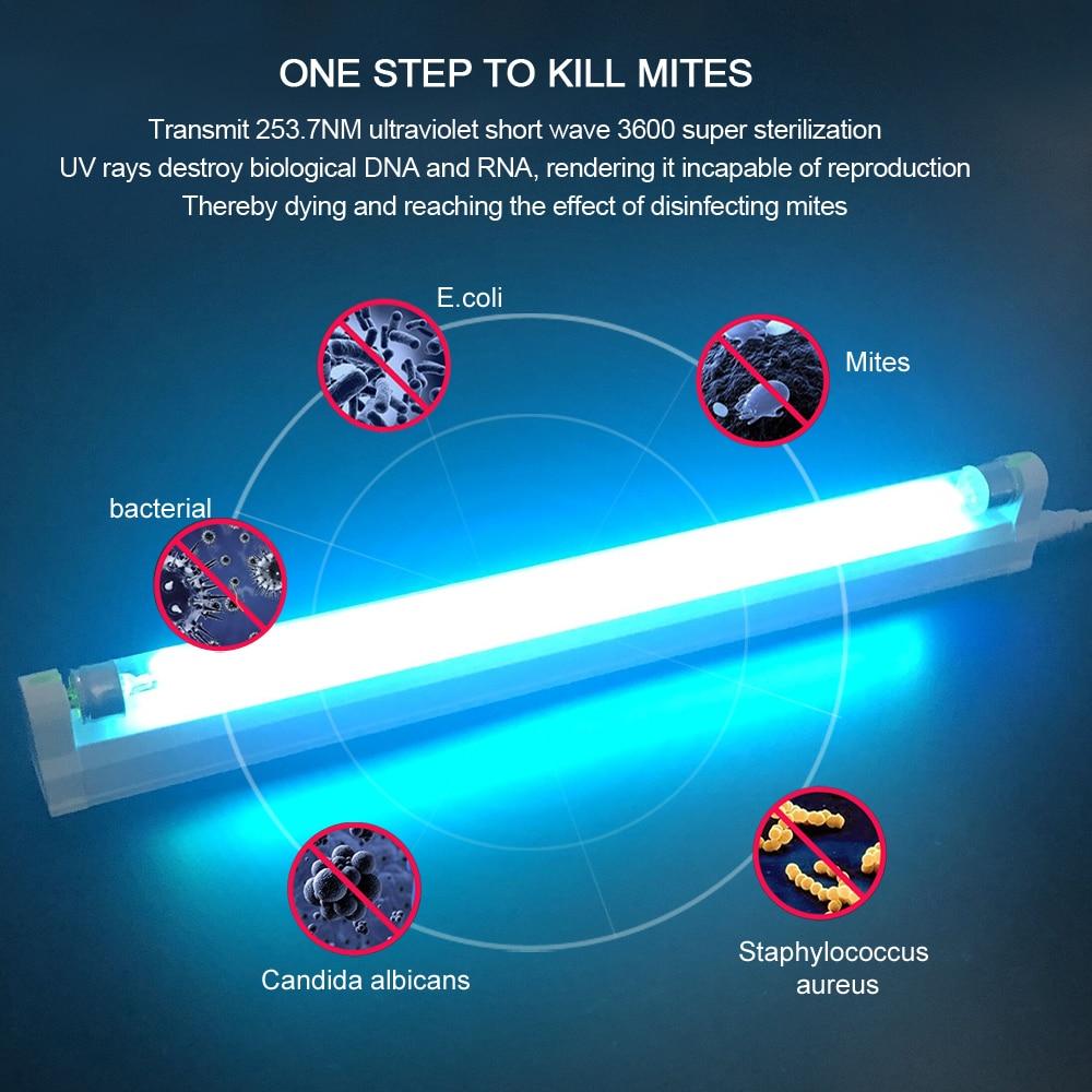 T5 Tube UV Ultraviolet Sterilizer Lamp 6W 8W AC 220V EU Desinfectante Germicidal Uvc Light Bulb Ozone Sterilizer Mites Quartz