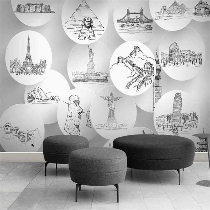 ขนาดใหญ่ 3D วอลล์เปเปอร์ภาพจิตรกรรมฝาผนัง CUSTOM World City Landmark สถาปัตยกรรมห้องนั่งเล่นห้องนอนห้องนอนพื้นหลังวอลล์เปเปอร์ภาพจิตรกรรมฝาผนัง