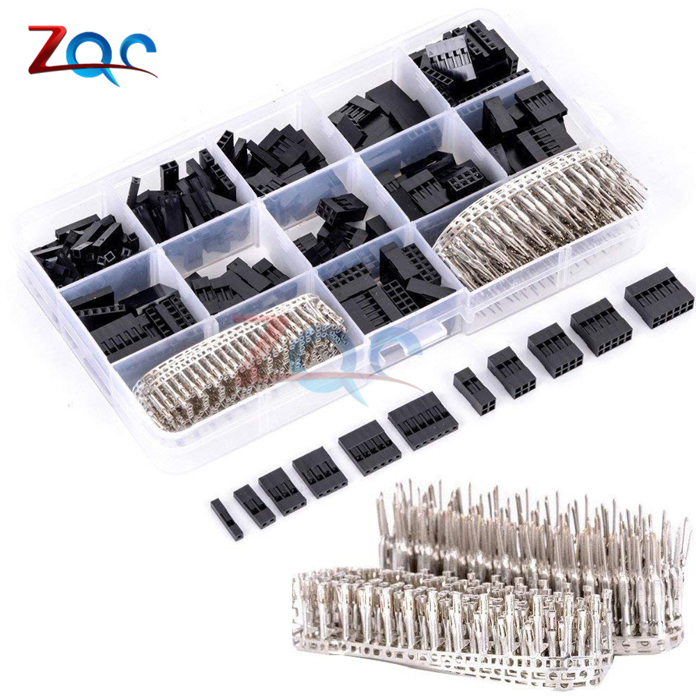 620Pcs/set <font><b>2.54mm</b></font> Male+<font><b>Female</b></font> Dupont Wire Jumper Line Cable 1/2/3/4/5/6/8 Pin Header <font><b>Connector</b></font> Housing Electronic DIY Kit image