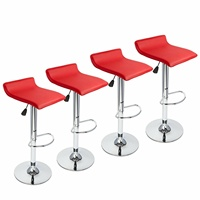 Set of 4 Bar Stools PU Leather Adjustable Swivel Pub Chair Kitchen Dining Red