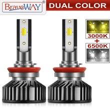BraveWay 3000K+ 6500K H1 H7 H8 H9 H11 светодиодный комплект фар для авто H7 светодиодный Canbus 9005 HB3 9006 HB4 светодиодный лампы 12V 24V 90 Вт 12000LM CSP