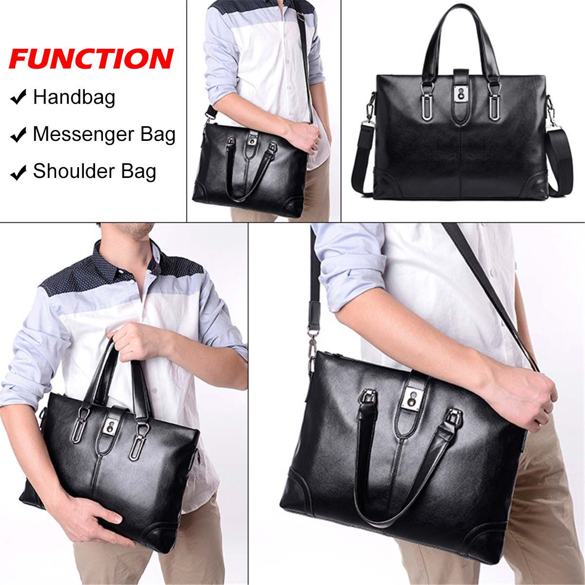 Retro Men PU Leather Black Briefcase Business Handbags Messenger Bags  Large Capacity Male Vintage Shoulder Bag For Laptop