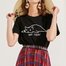 Cat not today Letter Print tshirt women Casual Funny t shirt For Lady Girl summer top tee kawaii tumblr tshirts plus size