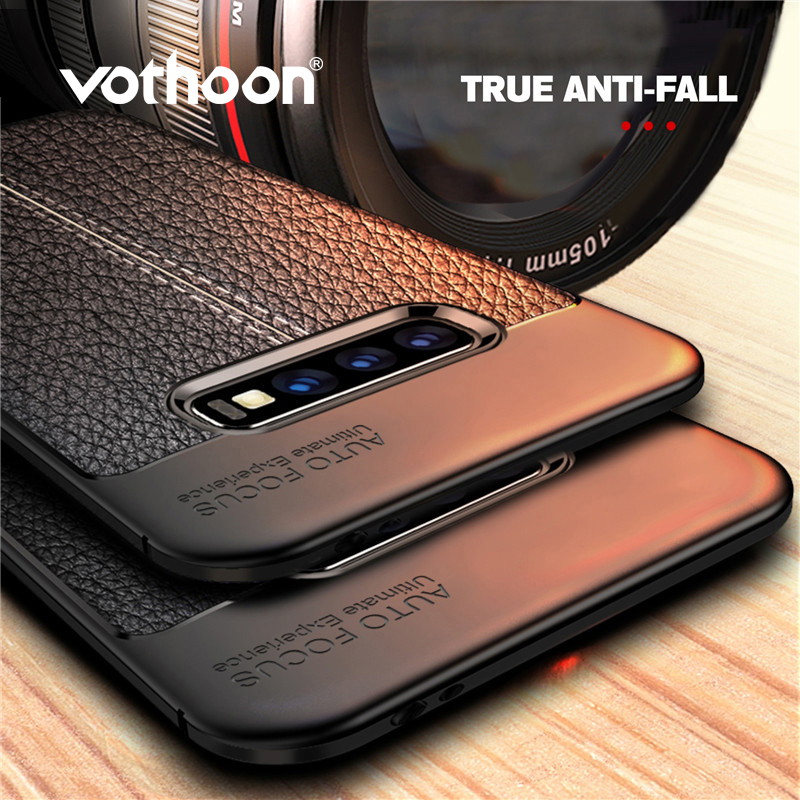 Vothoon PU Leather Silicon Case For Samsung Galaxy S10 Plus S8 S9 S10e Note 8 9 10 Soft Shockproof Cover