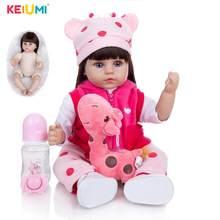 4KEIUMI 18 pulgadas largo pelo marrón de silicona renacer muñecas del bebé niño niña Reborn Bebe juguetes para los niños de almohada compañeros regalos