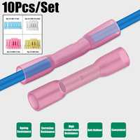 Heat Shrink 10Pcs/Set Terminals Solder Seal Butt Electrical Wire Connectors Soldering Terminal Kit Cable Splice Connector Tube