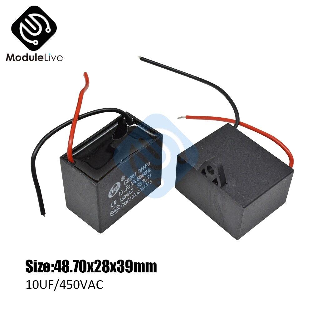 Condensateur de plafond 2 fils 10UF/450V | Terminal ca, condensateur de démarrage, ventilateur de plafond, moteur, condensateur rectangulaire