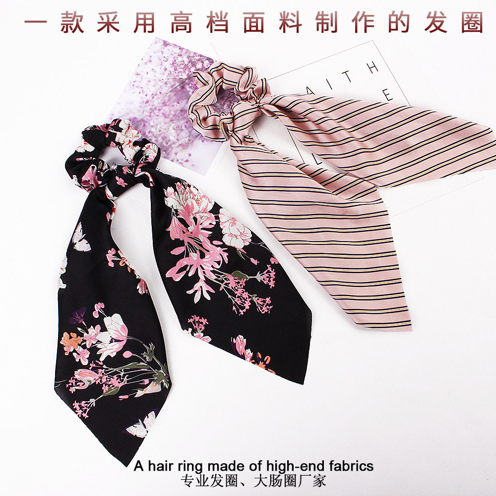 Hace0633116df4a7aaa9be0ce46bd869ef - Fashion Silk Satin Summer Ponytail Scarf Stripe Flower Print Ribbon Hairbands Hair Scrunchies Vintage Girls Hair Accessoires
