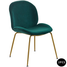 цена на 2PCS Nordic Modern Gold Steel Design Dining Room Chair Velvet Dining Chair Home Leisure Beetle Chair