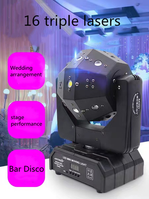 16X3W 3in1 Laser for DJ disco party stage ball lights Moving Head Light Laser Rock Stage Rotating Bar Light
