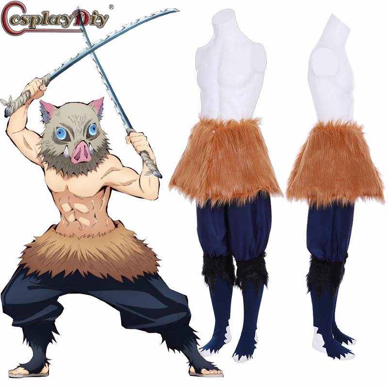Cosplaydiy démon Slayer Kimetsu no Yaiba Cosplay Hashibira Inosuke Costume uniformes hommes Halloween fête tenues