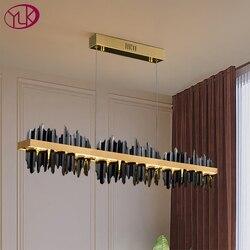 New Modern Chandelier lighting For Dining Room Iceberg Design LED hanglamp Kitchen Island Rectangle Lighting Fixtures Gold/Black