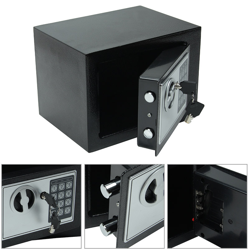 Digital Safe Small Household Mini Steel Safe Currency Bank Safe Deposit Box With Key To Safely Store Cash Jewelry Or Documents