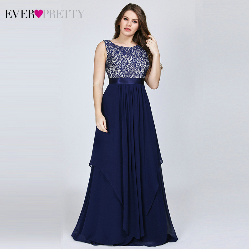 Plus Size Bridesmaid Dresses Ever Pretty Floral Lace A-Line O-Neck Sleeveless Elegant Wedding Guest Dresses Vestido Madrinha