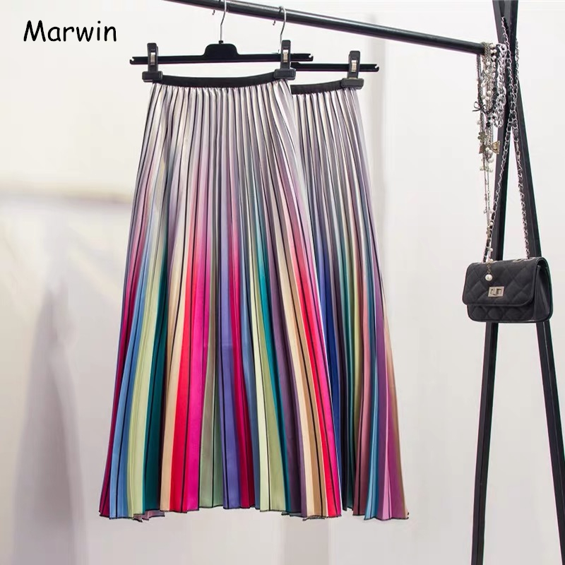 Marwin 2019 Spring New-Coming Women Skirts Rainbow Striped A-line Mid-Calf Skirts High Street European Style High Quality Skirts