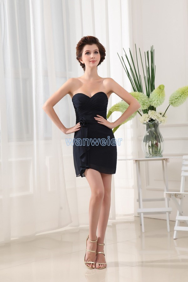 Free Shipping 2015 New Design Vestidos Formal Dress Formales Maid Black Short Party Gowns Sweetheart Custom Bridesmaid Dresses