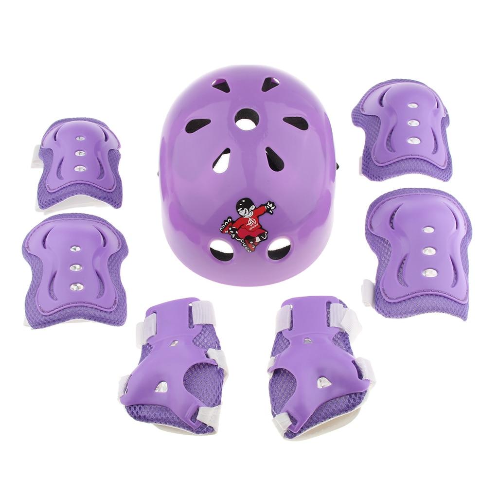2 Set 3-5 years old Kid Child Roller Skating Bicycle Helmet Knee Wrist Guard Elbow Pad pink + purple