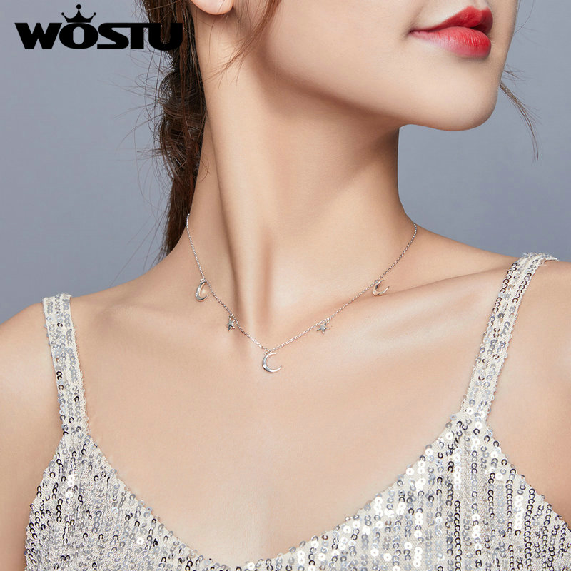 WOSTU 925 Sterling Silver DIY Moon & Star Necklace Ladies Nature Lucky Jewelry Pendant Link Charm For woman gift