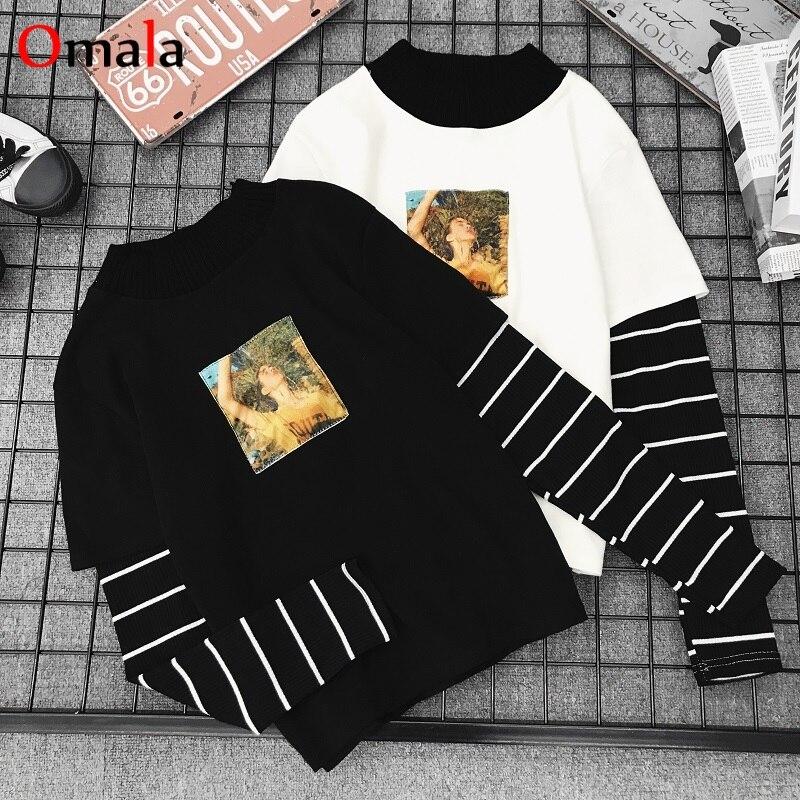 Korean Spring Women Shirts Stripe Black White Tops O-Neck Basic Students T-shirts Autumn Harajuku Loose Printing Casual T Shirt