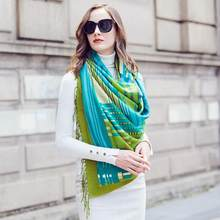 Fashion Winter Scarf For Women Scarf Cashmere Warm Plaid Pashmina Scarf Luxury Brand Blanket Wraps Female Scarves And Shawls(China)
