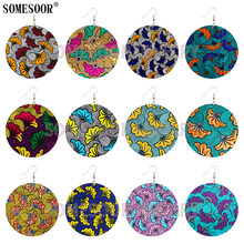 Somesoor jóias 16 estilo boêmio africano têxtil floral padrões de madeira em torno de ambos os lados imprimir designer brincos para presentes femininos