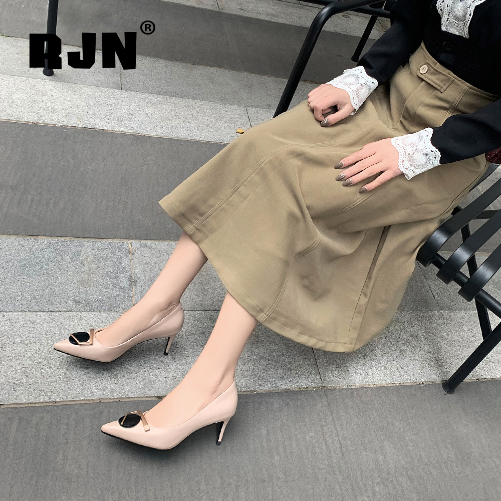 Buy RJN New Fashion Women's Pumps High Quality Cow Leather Special Design Metal Decoration Shoes Elegant Shallow Office Pumps RO77