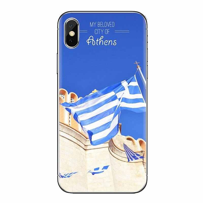 ل فون XS ماكس XR X 4 4S 5 5S 5C SE 6 6S 7 8 زائد سامسونج غالاكسي J1 J3 J5 J7 A3 A5 TPU حالة غطاء GR اليونانية اليونان العلم راية