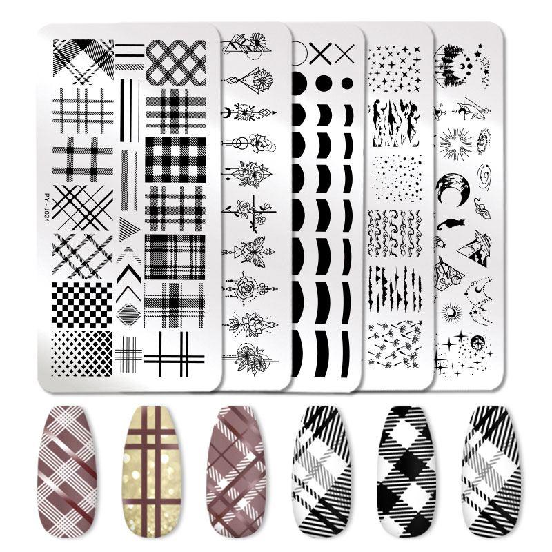 PICT YOU French Style Geometry Nail Stamping Plates Plants Striped Line Leaves Lavender Flower Nail Art Plate Stencil Stainless
