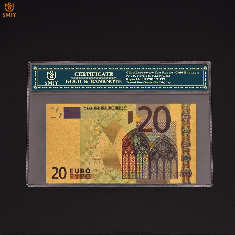 Réplica de papel para notas de dinheiro, folha de ouro banhada a ouro 24k moeda europeia 20 euro dinheiro coleção de notas