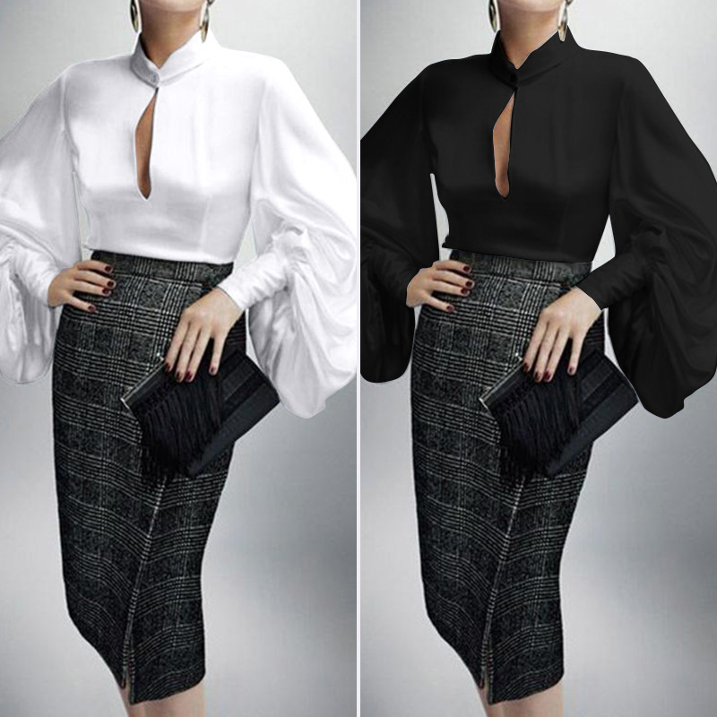 ZANZEA Spring V Neck Long Puff Sleeve OL Blouse Elegant Women Casual Loose Work Tops Chemise Femme Blusas Plus Size Solid Shirt7